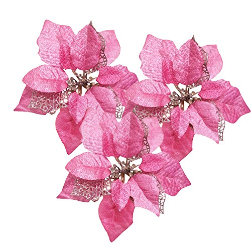 Pink Pack of 12 Glitter Artificial Wedding Christmas Flowers Glitter Poinsettia Christmas Tree Ornaments (Pink) Flowers Christmas Ornament