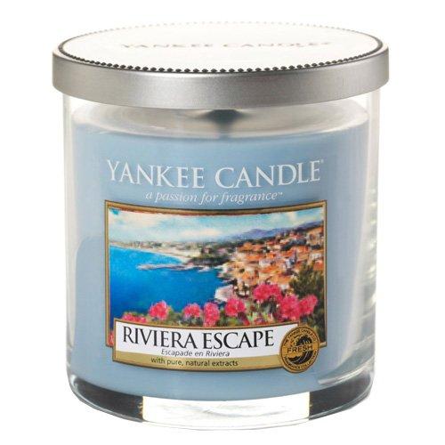 YANKEE CANDLE 1508621E Riviera Escape Candela Pillar Décor Piccola, Vetro, Blu, 8.6x8.5x8.8 cm