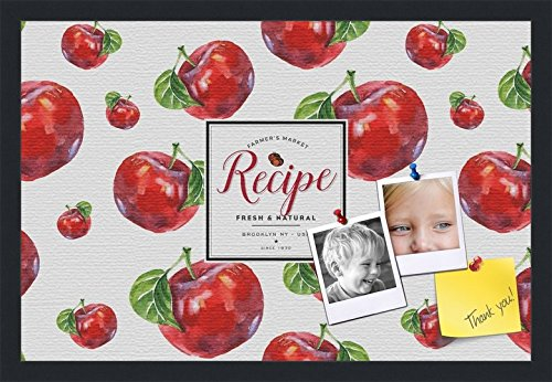 PinPix decorative pin cork bulletin board made from canvas, Recipe Board with Red Apples 24x16 Inches (Completed Size) and framed in Satin Black (PinPix-Group-36) by PinPix