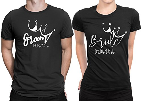 Groom Bride Crown Newly Married Couple Matching T-shirt Honeymoon valentines  Men Small   Women Small  f87035558