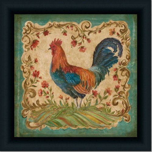 French Country Kitchen Rooster Ii Decor Print Framed (Pictures Framed Rooster)