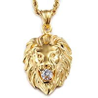 """Jewelry Kingdom 1 Mens Necklace Lion Pendant Necklace, Bigger in Size, Silver Plated Stainless Steel, 3PCS Shiny CZ Diamonds, Comes with Rope Chain 24""""and in a Gift Box"""