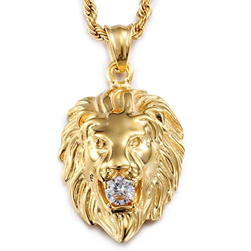 14k Boy Head - Stainless Steel Vintage Men's Gold Lion Pendant Necklace White Stone Rope Chain
