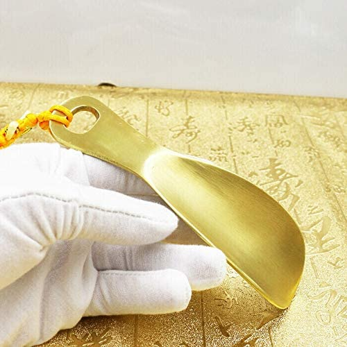 軽量 ポータブルメタルシューホーン靴ヘルパー銅の長老手作りの小さなショートハンドル 耐用 (Color : Gold, Size : 14cm)