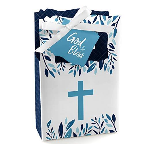 - Blue Elegant Cross - Boy Religious Party Favor Boxes - Set of 12