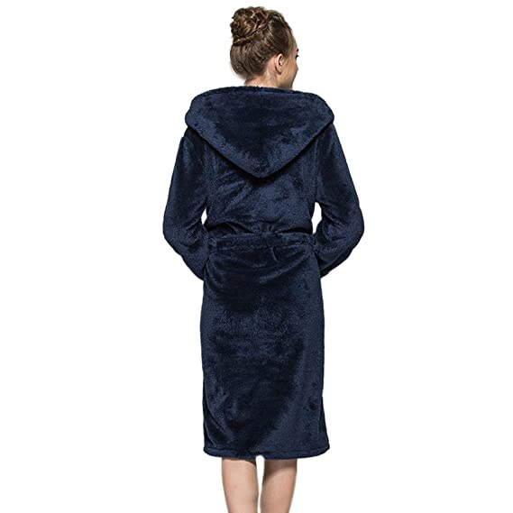 Clearance! Mens Womens Full Length Hooded Plush Soft Warm Fleece Bathrobe Long Shawl Collar Kimono Robes at Amazon Womens Clothing store: