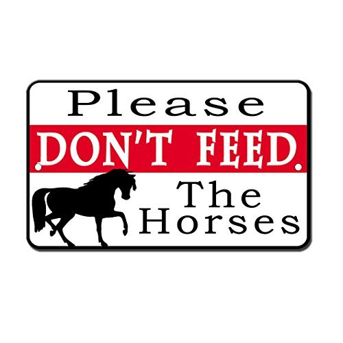 Tin Store Sign Feed (VictorJoan Do Not Feed The Horses Novelty Funny Metal Sign Tin Sign 8 in x 12 in)