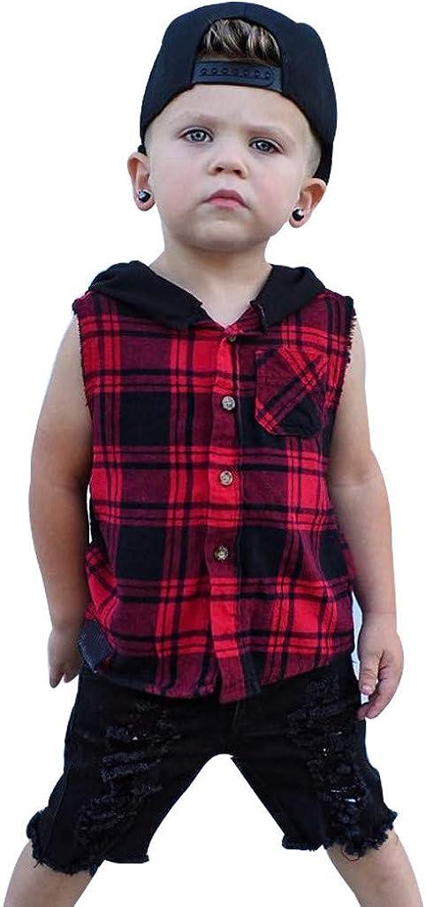 Makalon Sommer Kleinkind Jungen T-Shirt Baby Karikatur Tops Kinder Jungs Freizeit Cartoon Einfarbig Shirt Baumwolle Hemd Kurzarm H/ülsen Tierdruck T-St/ücke Outfits Plaid Hoodie Trainingsanzug