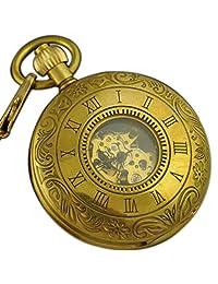 VIGOROSO Men's Retro Hand Winding Half Hunter Copper Golden Skeleton Mechanical Pocket Watch
