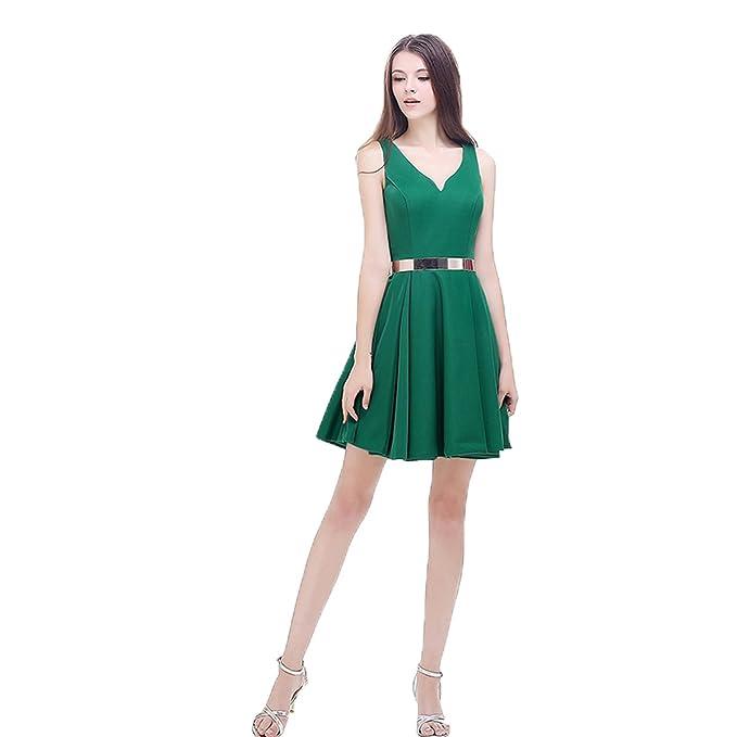 Xnaihuafei parte trasera abierta encaje verde corto cóctel fiesta Prom Vestido Vestido de fiesta Verde verde