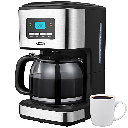 Aicok Coffee Maker, Drip Coffee Maker with Programmable Time, 12 Cup Coffee Machine with Glass Coffee Pot, Basket Coffee Filter, Black