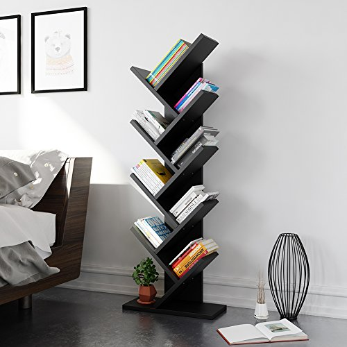 tribesigns 9 shelf tree shaped bookcase book shelf modern