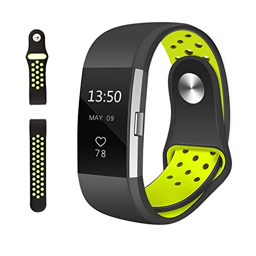 Fitbit Charge 2 Sport Bands,Charge 2 Nike Sport Band Silicon Wristbands Breathable Accessories Replacement Wrist Strap For Fit Bit Heart Rate Fitness Activity Tracker Watch Large Black/Volt