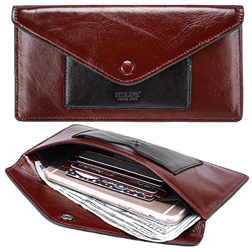 Women's Wallet Leather RFID BLOCKING Ultra Thin Envelope Purse Travel Clutch with ID Card Holder and Phone Pocket (Waxed Red) (Cowhide Travel Wallet)