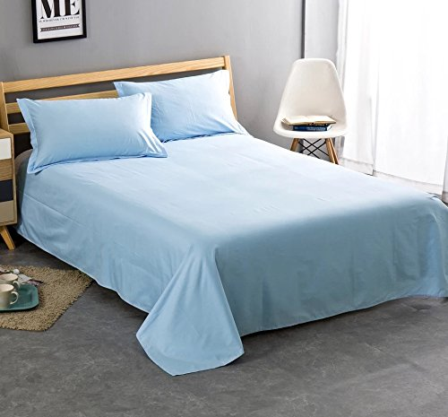 100% Cotton Flat Sheet Only- Superior Quality,Soft,Silky,Skin friendly,Breathable,Comfortable Bed Sheet (QUEEN, Light Blue)
