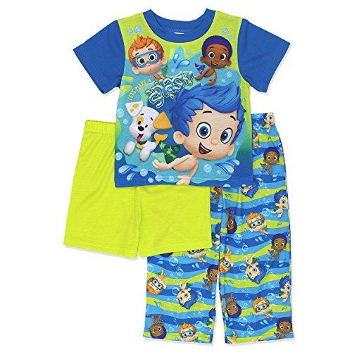Bubble Guppies Boys 3 Piece Pajamas Set (3T, Blue/Green) (Boys Bubble)