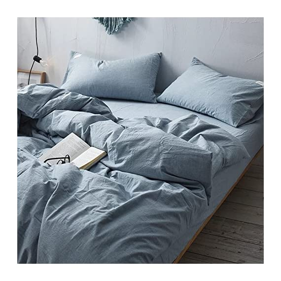 """Bed Sheet Set- Heavy 165 GSM, Super Soft,Vintage Style With Natural Wrinkles-3 Piece Set:1 Flat Sheet+1 Fitted Sheet+1 Pillowcase(Twin, Light Blue) - 100% Microfiber(Super Soft) More Heavy .The fabric weight reaches to 165 GSM(grams per square meter),50% higher than most of the products in the market which around 90~110 GSM. 3 Piece Twin Set includes -1 Flat sheet(66"""" x 96""""), 1 Fitted sheet(39"""" x 75"""") + 15"""" deep pocket, 1 Pillowcase (20"""" x 30"""") - sheet-sets, bedroom-sheets-comforters, bedroom - 51pFD8BkvvL. SS570  -"""