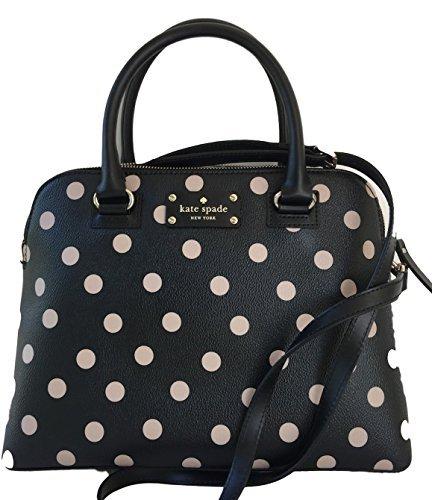 Price comparison product image Kate Spade New York Wellesley Printed Small Rachelle Satchel Handbag Purse (Black / Decobeige)