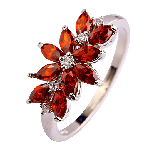 Psiroy 925 Sterling Silver Created Garnet Filled Vine Leaf Promise Ring (Date Garnet Ring)