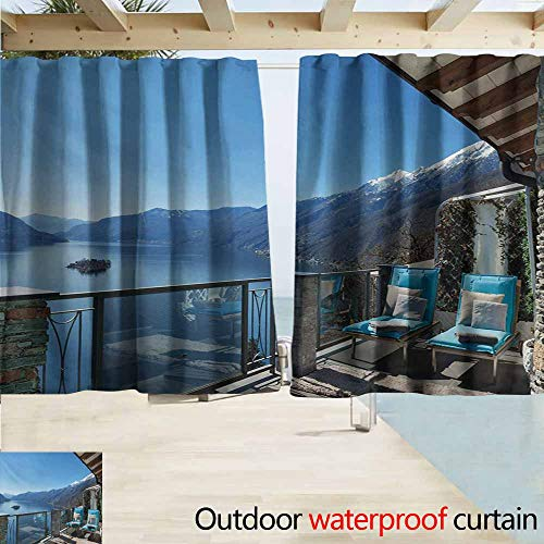 - Lcxzjgk Travel Drape for Pergola Curtain Long Seats in Terrace with Lake Sea View Summer Holiday Theme Art Print Waterproof Patio Door Panel W63 xL72 Blue White and Green