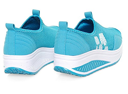 Mesh Sneakers Shoes Lightweight Wedge Women's Slip 11 Orlancy Size On Sports Blue Walking Fitness 4 US4 Twg5vx