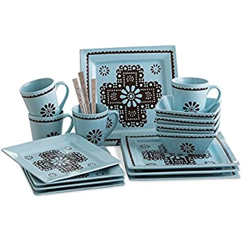 Turquoise Lace 16 Pc Western Dish Set  sc 1 st  Amazon.com : western dishes dinnerware - pezcame.com