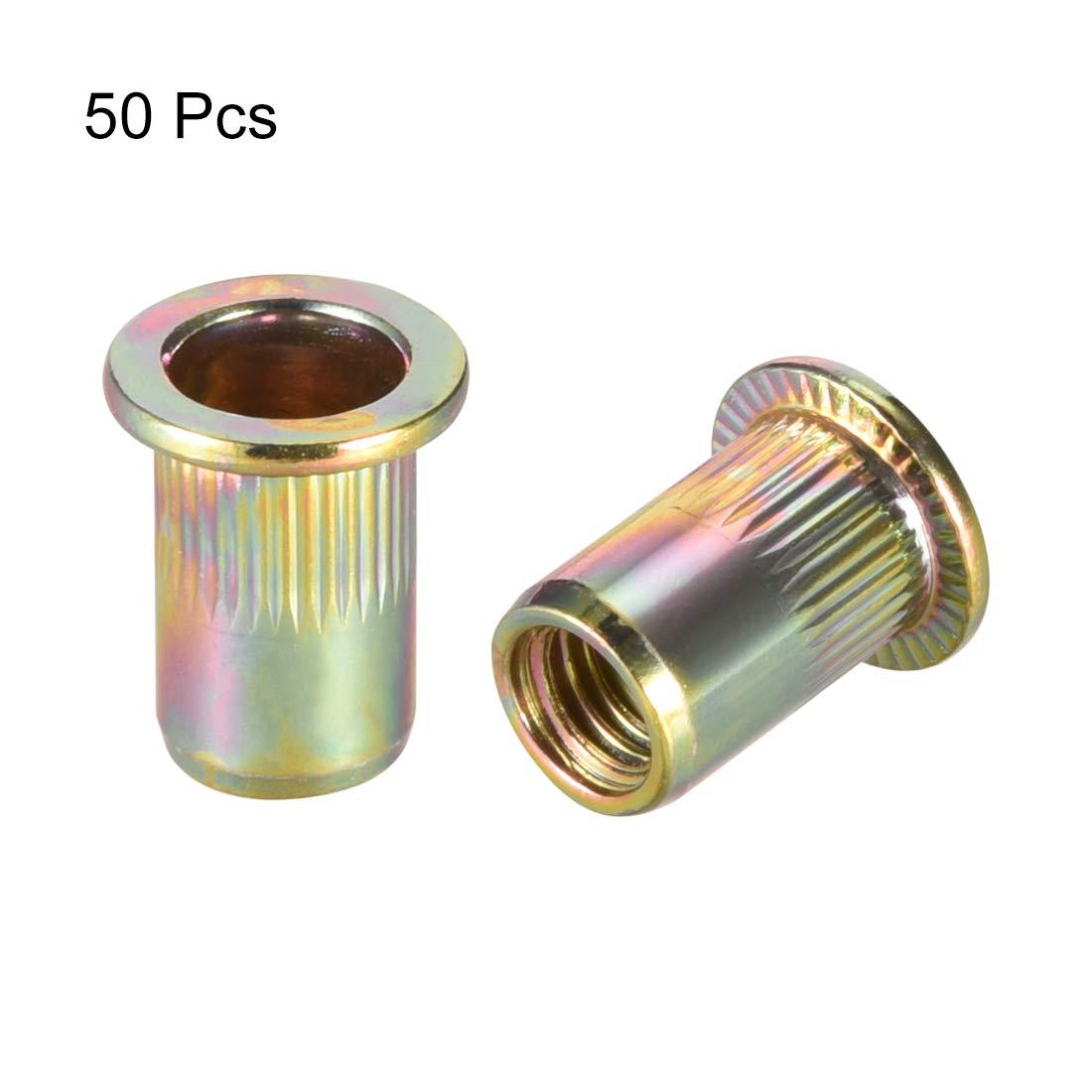 uxcell M8 Flat Head Half Hex Body Threaded Rivet Nuts Nutserts 50 Pcs a15072400ux0519