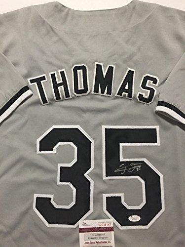 Autographed/Signed Frank Thomas Chicago White Sox Grey Baseball Jersey JSA COA