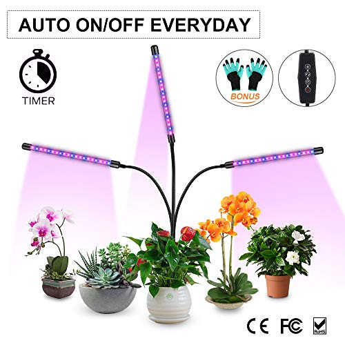 Grow Light,30W Auto ON/Off Grow Lamp 3 Head 60 LEDs Timing for Indoor Plants 3/6/12H Timer 6 Dimmable Levels (3 Head LEDs)