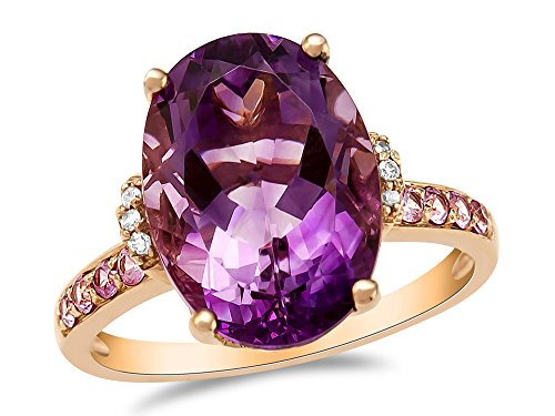 LALI Classics 14kt Rose Gold Amethyst and Pink Sapphire Oval Ring Size 7