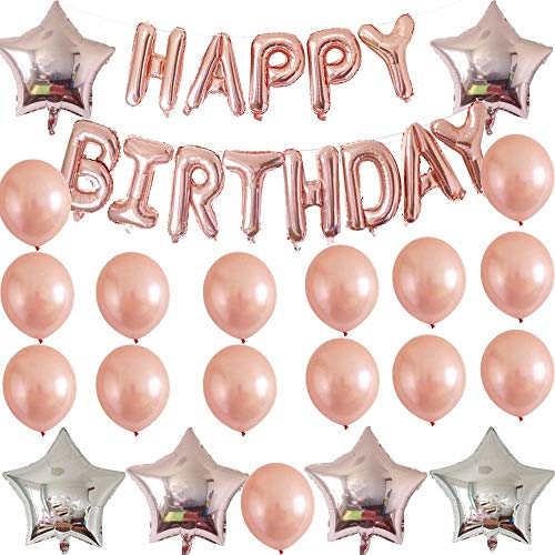 Happy Birthday Balloons Rose Gold Decorations Set for Girl' Party Supplies, Baby Shower, Engagement Anniversary, Proms with Latex Balloons +Foil Mylar Star -