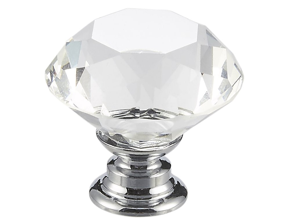 Crystal Glass Knobs - 10 Pieces of Clear Diamond Shape Pull Handles for Drawers, Cabinets, Dressers in Kitchen, Bedroom, Living Room, 30mm by Juvale (Image #4)