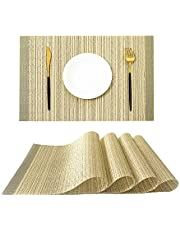 AmosH Placemats Set of 4, Heat-Insulation Placemats Stain Resistant Placemat. Non-Slip Washable PVC Placemats. Woven Vinyl Placemats for Kitchen Dining Table.