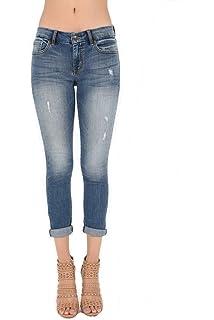5ba637b9c7ee TheMogan Women s Indigo Stone Wash Ankle Zipper Crop Skinny Jeans ...