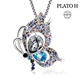 PLATO H ❤Birthday Gifts❤ Butterfly Brooch Necklace Elegant Butterfly Brooch Necklace with Swarovski Crystals Women Fashion Jewelry Romantic Gift for Woman