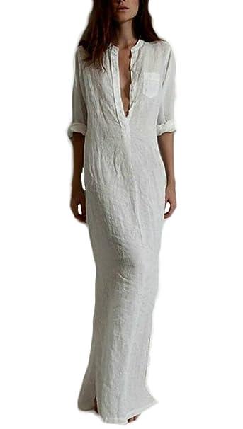 280fffb6a85e Donna Estivi Camicia Vestito Estivo Abito Eleganti Lungo Solido Scollo A V  con Tasca Spacco Casual Partito Sciolto Sottile Vestitini Vestiti da  Giorno  ...