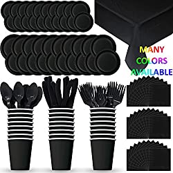 Disposable Paper Dinnerware for 24 - Black - 2 Size plates, Cups, Napkins , Cutlery (Spoons, Forks, Knives), and tablecovers - Full Party Supply Pack