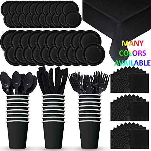 Disposable Paper Dinnerware for 24 - Black - 2 Size plates, Cups, Napkins , Cutlery (Spoons, Forks, Knives), and tablecovers - Full Party Supply Pack by HeroFiber