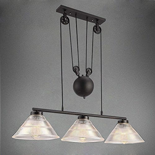 JINGUO Lighting Adjustable Creative Pulley Design 3-Lights Island Light Chandelier Vintage Industrial Pendant Lamp Hanging Lights Fixture with Cone Ribbed Glass Shade for Indoor (Cone Pulley)