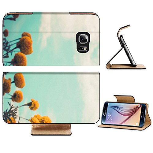 Luxlady Premium Samsung Galaxy S6 Edge Flip Pu Leather Wallet Case IMAGE 28858154 Marigolds or Tagetes erecta flower in the nature or garden vintage