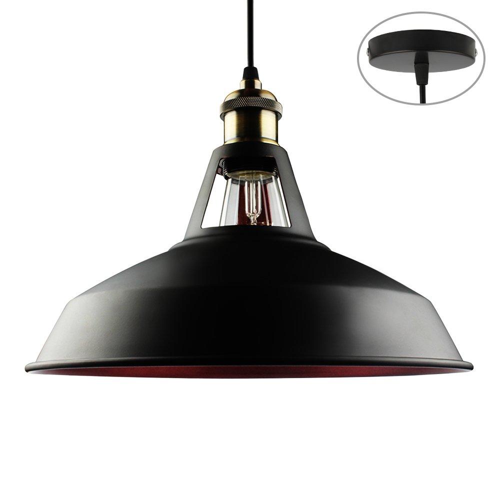 B2ocled Barn Pendant Lighting Black Hanging Light Fixture Metal Dome Shade,for Kitchen Restaurant,1-Light (Black Outside Red Inside), Diameter 10.63 inches