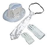 BUYITNOW Sequin Gloves, Sequin Trilby Hat, Sequin Necktie Set for Cosplay Party Halloween Carnival Outfit for Kids, Silver
