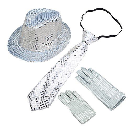 BUYITNOW Sequin Gloves, Sequin Trilby Hat, Sequin Necktie Set for Cosplay Party Halloween Carnival Outfit for Kids -