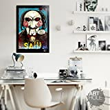 Billy The Puppet from Saw Movies (Jigsaw) - Pop-Art Original Framed Fine Art Painting, Image on Canvas, Artwork, Movie Poster, Horror, Halloween