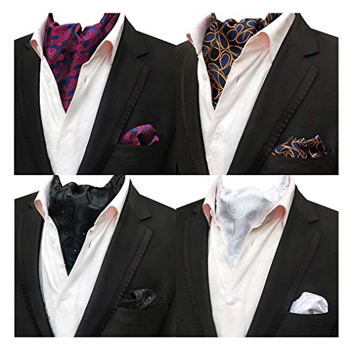 Tie Mens Silk Scarf - MOHSLEE Men's Pack of 4 Formal Polka Dots Silk Ascot Scarf Tie Pocket Square Set