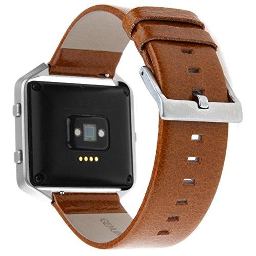 Fitbit Blaze Accessory Band,Henoda 23mm Genuine Leather Bands Bracelet Strap for Fitbit Blaze Smart Fitness Watch