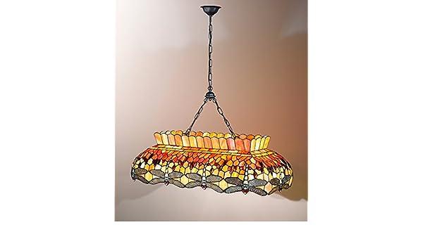 Lámpara colgante Tiffany con cadena color rosa y naranja con ...