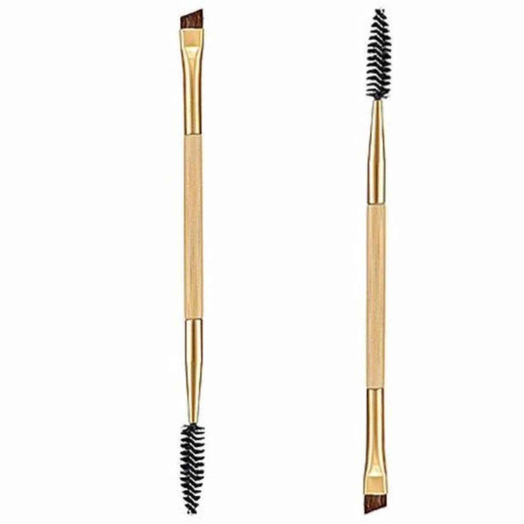Kashyk Bamboo Handle Double-end Eyeshadow Eyelash Brush, Eyebrow Brush + Eyebrow Comb for Women Girls Eyebrow Applicator Make-up Cosmetic Tool(1 PC) (Yellow)