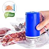 Sous Vide Bags BPA Free Reusable Food Vacuum Sealer with Rechargeable Vacuum Pump for Food Storage, Space Saving and Freezer Safe, Fits Any Sous Vide Cooker, 10 Zipper Bags (5 Large + 5 Medium)