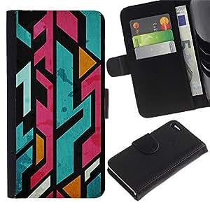 For Apple iPhone 4 / iPhone 4S,S-type® Jagged Lines Abstract Marker - Dibujo PU billetera de cuero Funda Case Caso de la piel de la bolsa protectora
